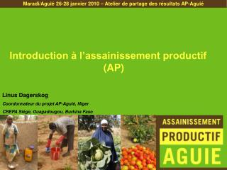 Introduction   l assainissement productif AP