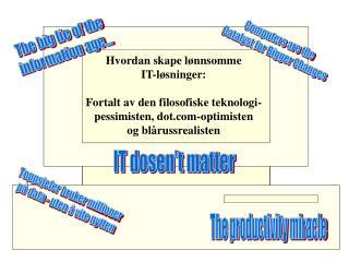 Hvordan skape lønnsomme  IT-løsninger: Fortalt av den filosofiske teknologi-