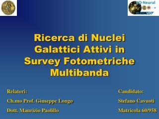 Ricerca di Nuclei  Galattici Attivi in Survey Fotometriche Multibanda