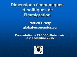 Dimensions  conomiques et politiques de  l immigration