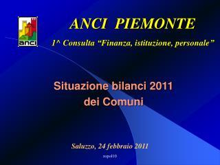 Situazione bilanci 2011 dei Comuni