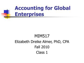 Accounting for Global Enterprises