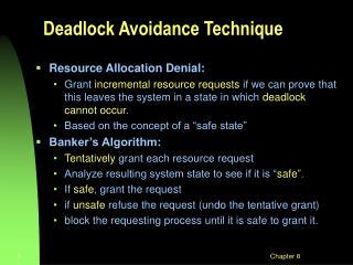 Deadlock Avoidance Technique
