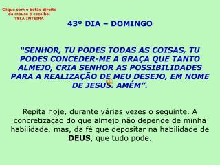 43º DIA – DOMINGO