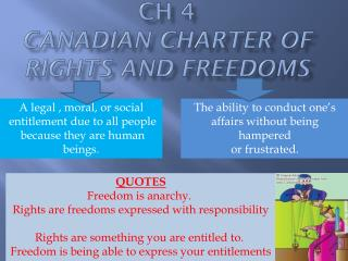 CH 4 CANADIAN CHARTER OF RIGHTS AND FREEDOMS
