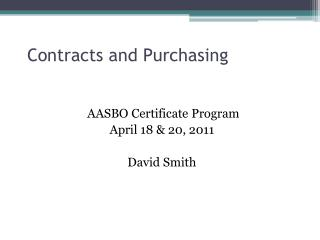 Contracts and Purchasing