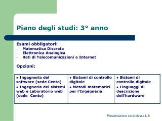 Piano degli studi: 3� anno
