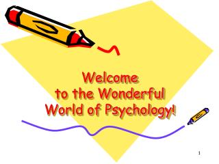 Welcome  to the Wonderful World of Psychology !