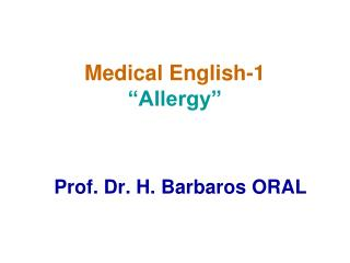 "Medical English-1 ""Allergy"""