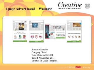 4 page Advert tested – Waitrose