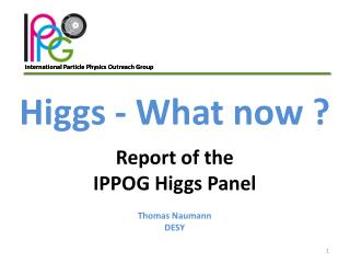 Higgs - What now  ? Report  of the IPPOG  Higgs  Panel Thomas Naumann DESY