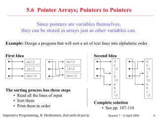 5.6  Pointer Arrays; Pointers to Pointers