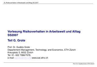 Vorlesung Risikoverhalten in Arbeitswelt und Alltag SS2007 Teil G. Grote Prof. Dr. Gudela Grote