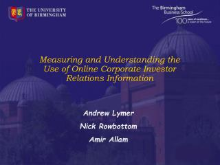 Measuring and Understanding the Use of Online Corporate Investor Relations Information