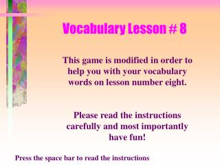 Vocabulary Lesson # 8