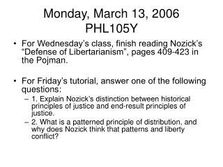 Monday, March 13, 2006 PHL105Y