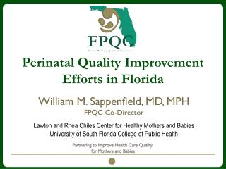 Perinatal Quality Improvement Efforts in  Florida