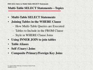 Multi-Table SELECT Statements—Topics