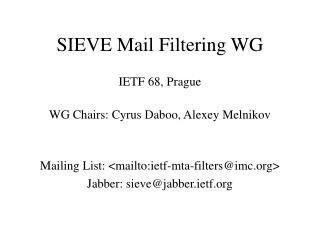 SIEVE Mail Filtering WG