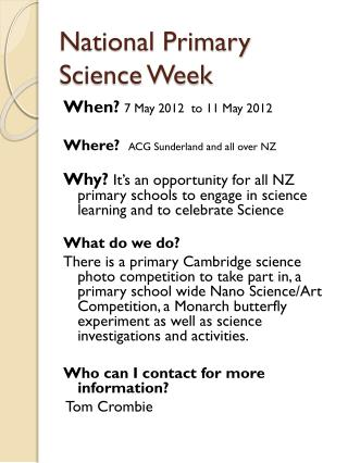 National Primary Science Week