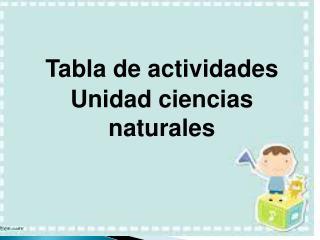 Tabla de actividades Unidad ciencias naturales