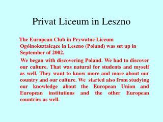 Privat Liceum in Leszno