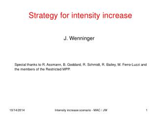 Strategy for intensity increase
