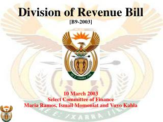 Division of Revenue Bill [B9-2003] 10 March 2003 Select Committee of Finance