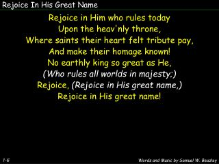 Rejoice In His Great Name
