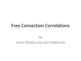 Free Convection Correlations