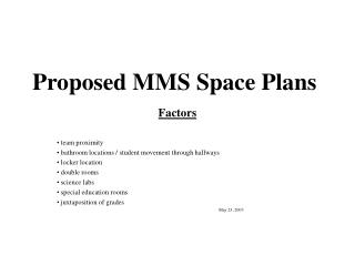 Proposed MMS Space Plans