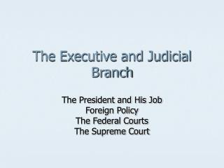 The Executive and Judicial Branch