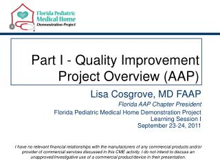 Part I - Quality Improvement Project Overview (AAP)