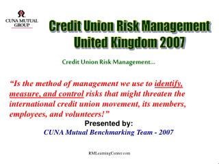 Credit Union Risk Management…