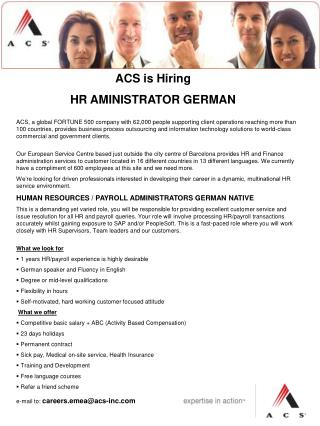 ACS is Hiring  HR AMINISTRATOR GERMAN