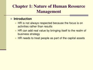 Chapter 1: Nature of Human Resource Management