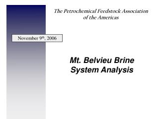 Mt. Belvieu Brine System Analysis