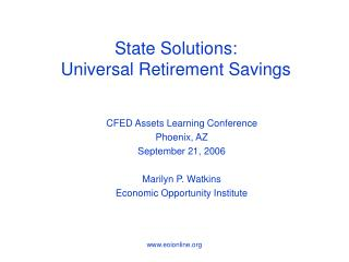 State Solutions: Universal Retirement Savings