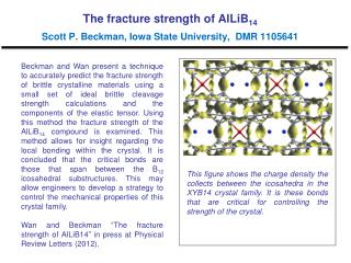 The fracture strength of AlLiB 14 Scott P. Beckman, Iowa State University,  DMR 1105641