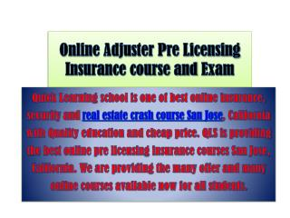 Online Adjuster Pre Licensing Insurance course and Exam San