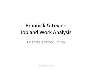 Brannick  & Levine Job and Work Analysis