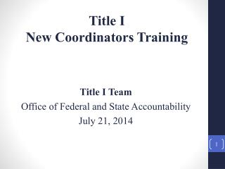 Title I  New  Coordinators  Training