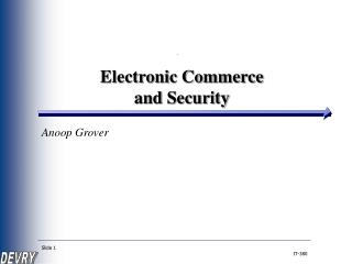 Electronic Commerce  and Security