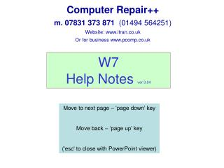 W7  Help Notes  ver 3.04