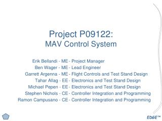Project P09122: MAV Control System