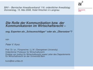 Die Rolle der Kommunikation bzw. der Kommunikatoren im Wirtschaftsrecht –