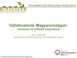 Vállalkozónők Magyarországon: hátrányok és működő megoldások 2011. április 28.