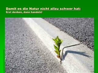 Damit es die Natur nicht allzu schwer hat: Erst denken, dann handeln!