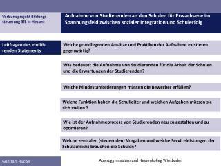 Verbundprojekt Bildungs- steuerung SfE in Hessen
