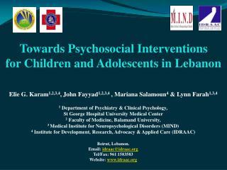 Elie G. Karam 1,2,3,4 , John Fayyad 1,2,3,4  , Mariana Salamoun 4  & Lynn Farah 1,3,4